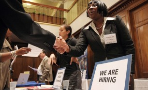 Job Seekers  Meet With Recruiters At Job Fair